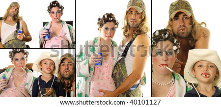 stock photo : Redneck Hillbilly family portrait collage
