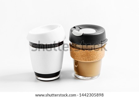 Reduce takeaway coffee cup waste with reusable coffee cups! Zero waste. Sustainable lifestyle concept.