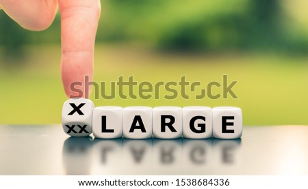 """Reducing weight concept. Hand turns a dice and changes the expression """"XX-Large"""" to """"X-Large"""". #1538684336"""