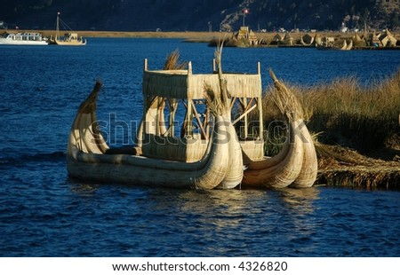 Reed boats on Titicaca Lake, Peru