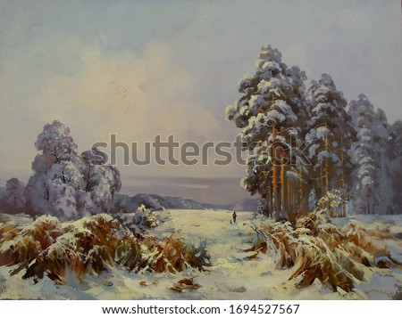 reeds in the snow, nice winter morning,fine art, oil painting, trees, landscape, park, snow, nature, sky