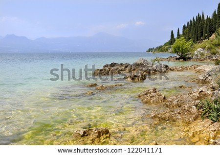 reefs of Lake Garda in transparent water