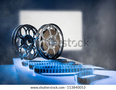 Reel of film on the background screen