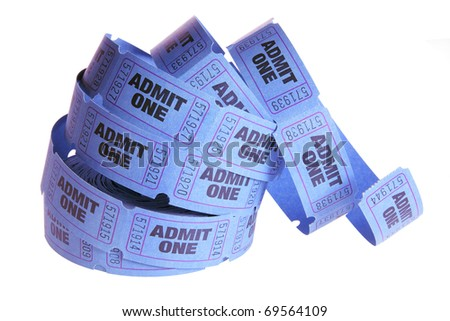Reel of Movie Tickets on White Background
