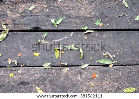 reen leaves on the old wooden background #381562111