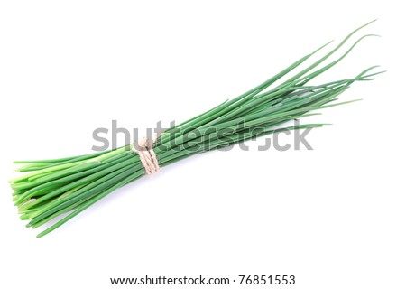 reen onion isolated on the white background
