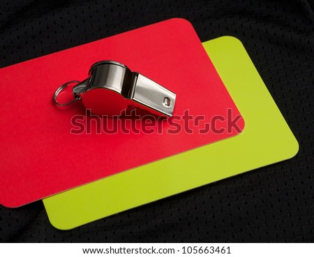 Referee red card and whistle