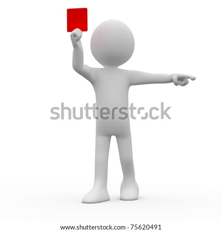 Referee showing red card and pointing with his index finger