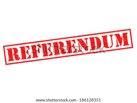 REFERENDUM red Rubber Stamp over a white background.