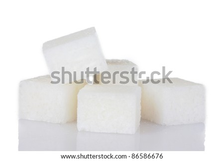 refined sugar isolated on white