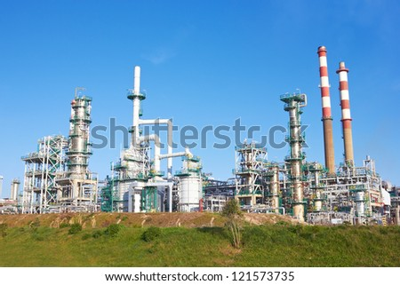 refinery against a blue sky