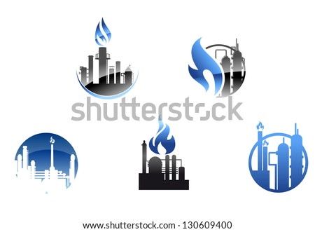 Refinery factory icons and symbols for industry design or logo template. Vector version also available in gallery