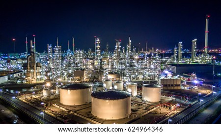 Refinery industrial, Oil refinery plant with Industry boiler at night