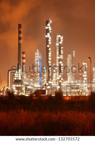 Refinery industrial plant with Industry boiler at night