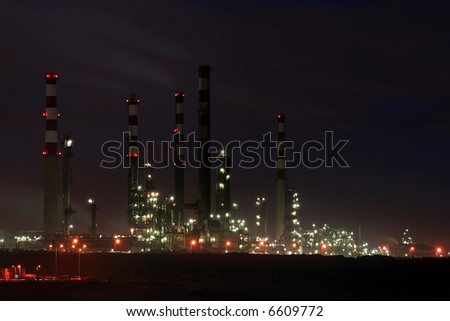 Refinery of Leça da Palmeira (Matosinhos near Porto in Portugal) by night