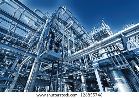 refinery pipelines constructions, illuminated concept
