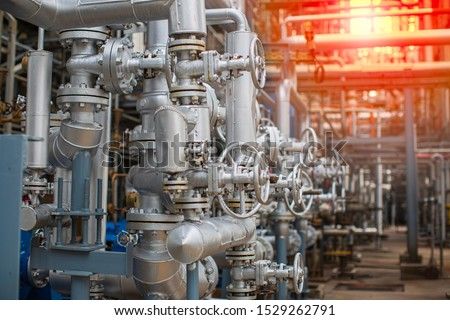 Refinery plant equipment for pipe line oil and gas valves at gas plant pressure safety valve selective Stock photo ©