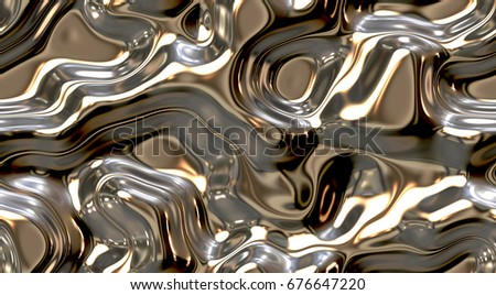 Reflect and ripple metallic seamless background textures. Shining Melt of fluid chrome surface. Chrome