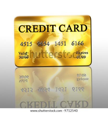 Reflected golden credit card on white background