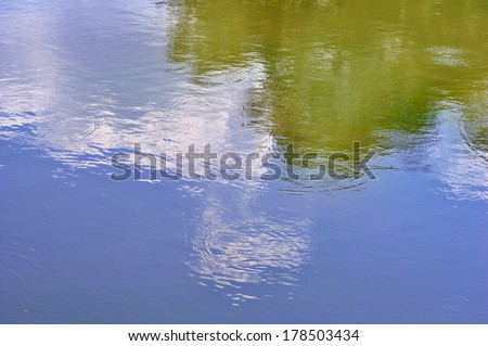 Reflection and circles on the surface of calm water, ecology background