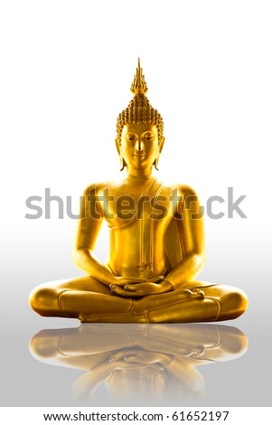 reflection buddha statue isolated