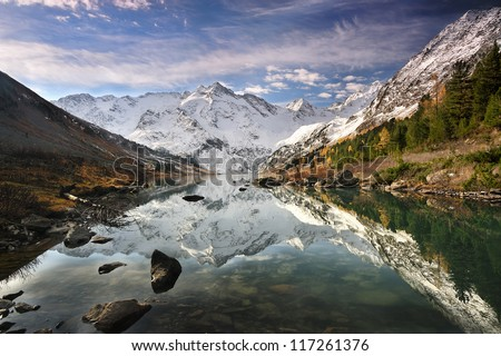 Reflection in a mountain lake