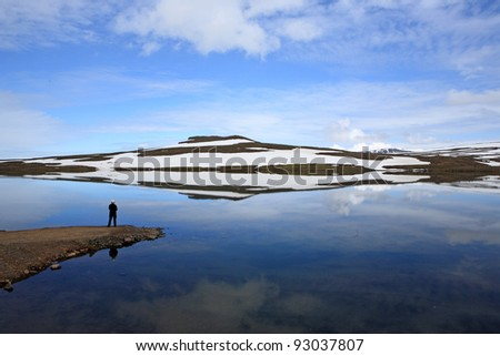 Reflection in lake near Seydisfjordur, Iceland