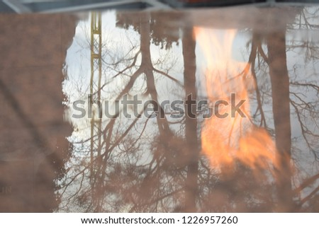 Reflection in ordinary street objects and architectural objects #1226957260