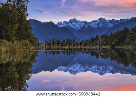 Reflection island Lookout, Lake Matheson, South island, New Zealand #550968442