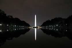 Reflection of a monument on water, Washington Monument, Washington DC, USA