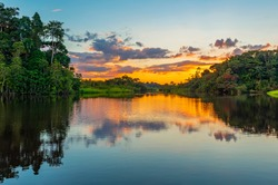 Reflection of a sunset by lagoon inside the Amazon Rainforest. The Amazon river basin comprises the countries of Brazil, Bolivia, Colombia, Ecuador, Guyana, Suriname, Peru and Venezuela.