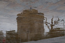 Reflection of a White Tower, which used at the past as a prison for criminals. Now is a tourist attraction.
