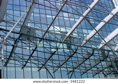 reflection of an architectural detail in office windows - Shutterstock ID 3481222