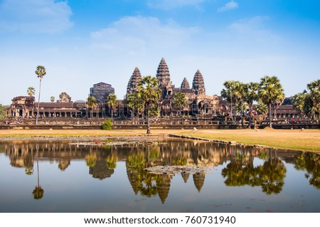 Reflection of Angkor wat under repairing construction in Feb 2017, Siem Reap, Cambodia