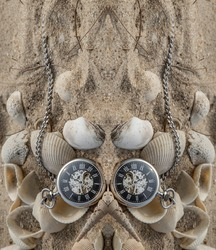 Reflection of Antique pocket watch and shells in sand on the beach and copy space. Time of life in nature concept. Selective focus.