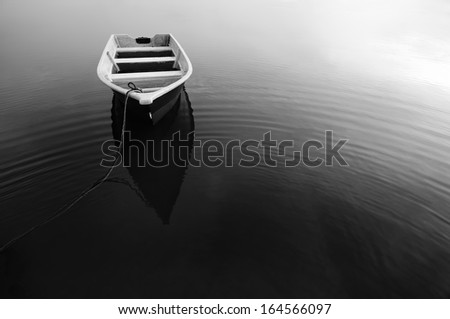 Reflection of Boat During in Black and White #164566097