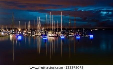 Reflection of boats at Danga Bay, Johore, Malaysia