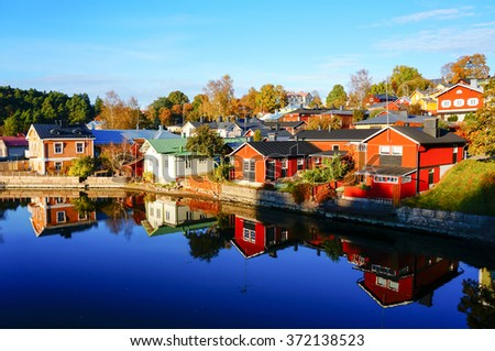 Reflection of colorful house in autumn, Porvoo, Finland