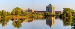 Reflection of downtown Wausau, Wisconsin in the Wisconsin River in Late summer