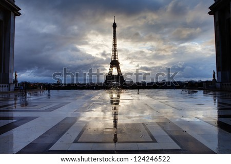 Reflection of Eiffel Tower from Paris with clouds