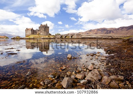 Reflection of Eilean Donan Castle, Highland Scotland UK