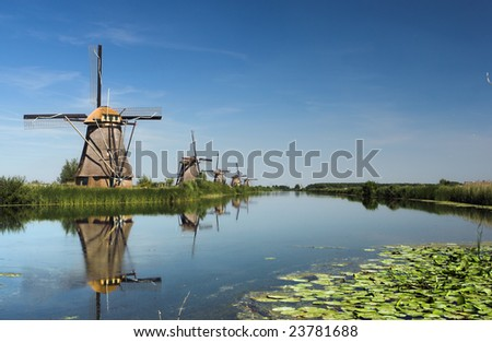 Reflection of five dutch windmills
