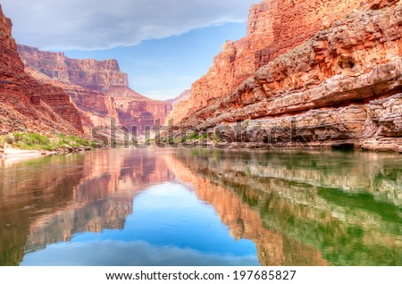 Reflection of Grand Canyon in Colorado River.
