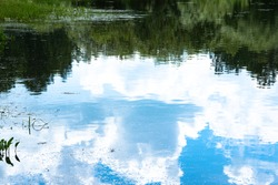 Reflection of green trees and blue sky with clouds in mirror surface of lake