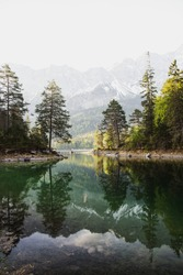 Reflection of Lake Eibsee infront of Zugspitze in Bavaria, Germany