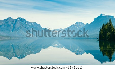 Reflection of Lake McDonald, Glacier National Park, Montana, US