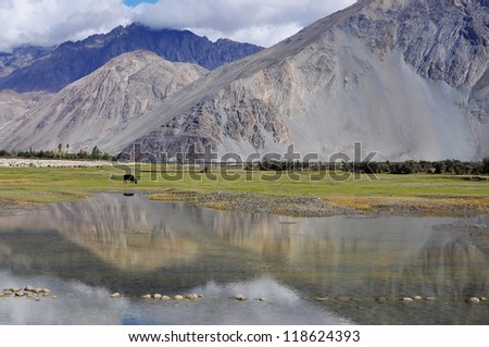 Reflection of lake, Nubra Valley, Ladakh, India