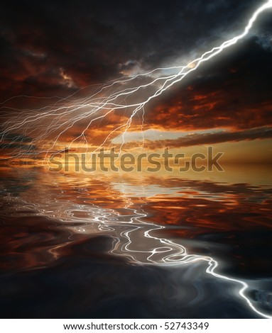 Reflection of lightning in the water