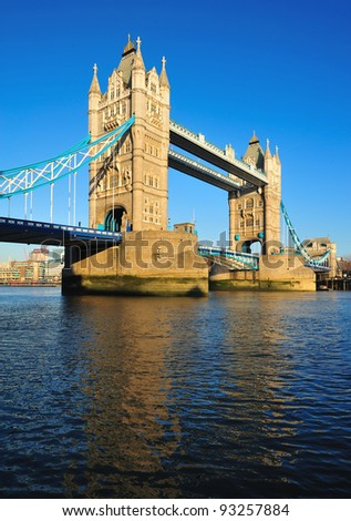 Reflection of London Tower Bridge on the water