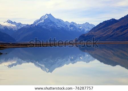 reflection of mount cook at lake pukaki, New Zealand